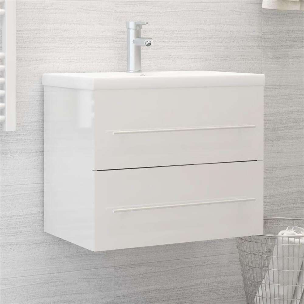 Sink Cabinet High Gloss White 60x38.5x48 cm Chipboard