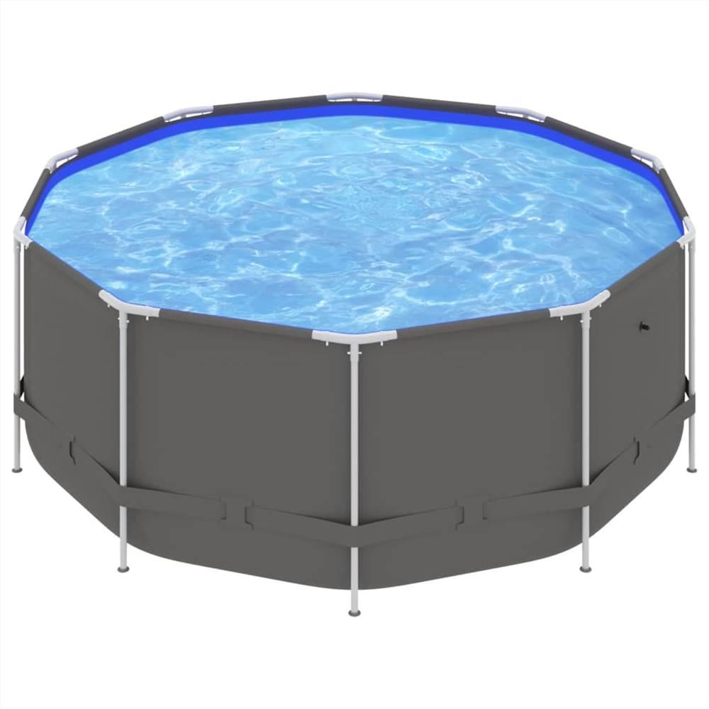 Schwimmbad mit Stahlrahmen 367x122 cm Anthrazit