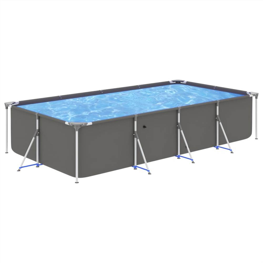 Swimming Pool with Steel Frame 394x207x80 cm Anthracite