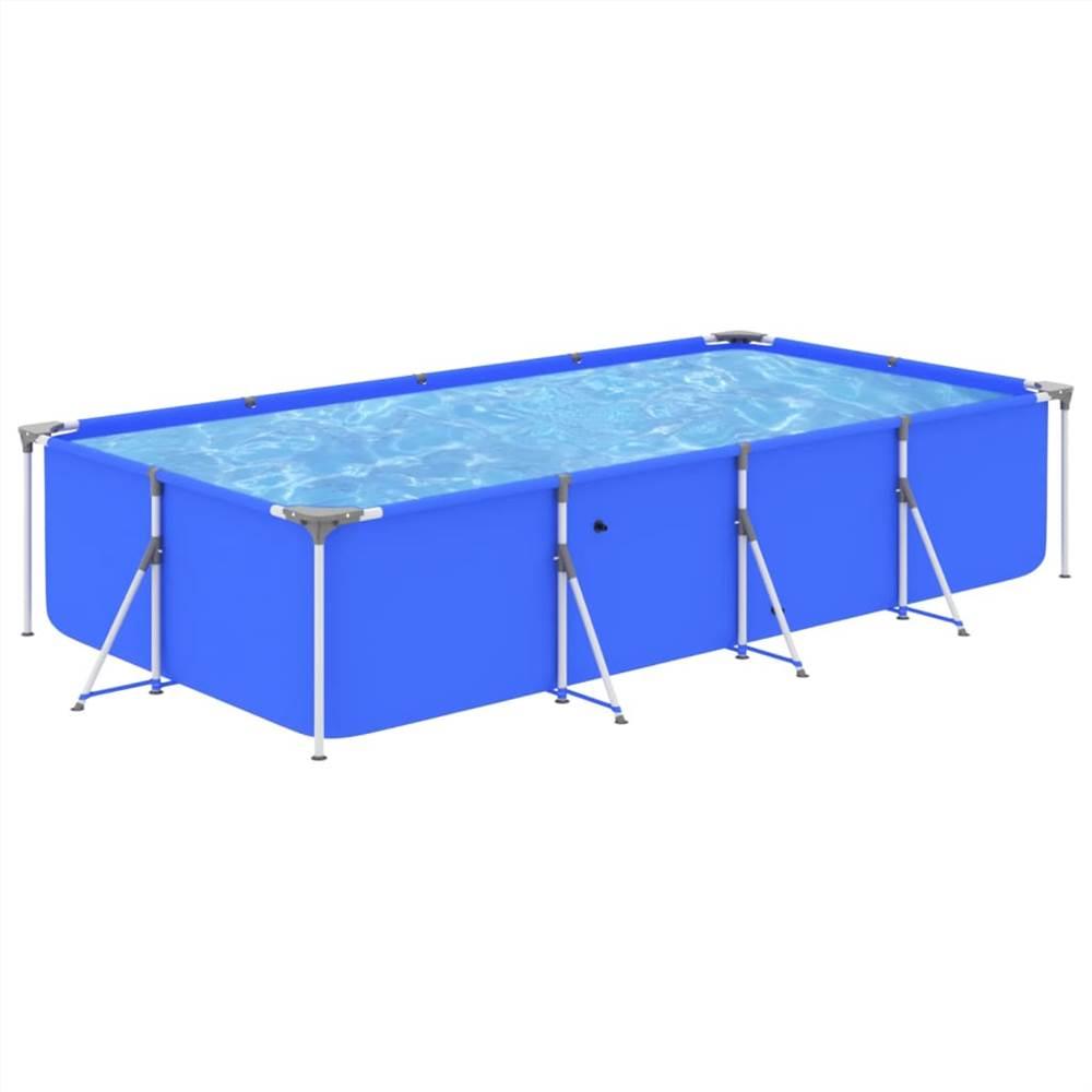 Schwimmbad mit Stahlrahmen 394x207x80 cm Blau