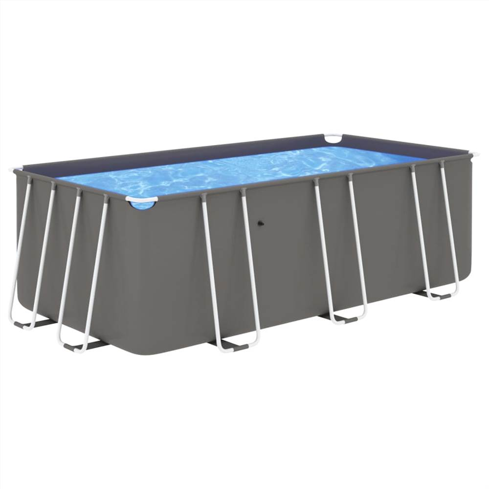 Swimming Pool with Steel Frame 400x207x122 cm Anthracite