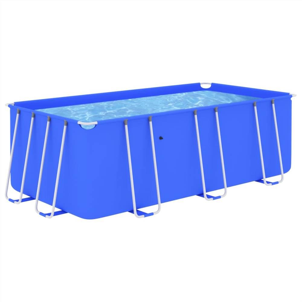 Schwimmbad mit Stahlrahmen 400x207x122 cm Blau