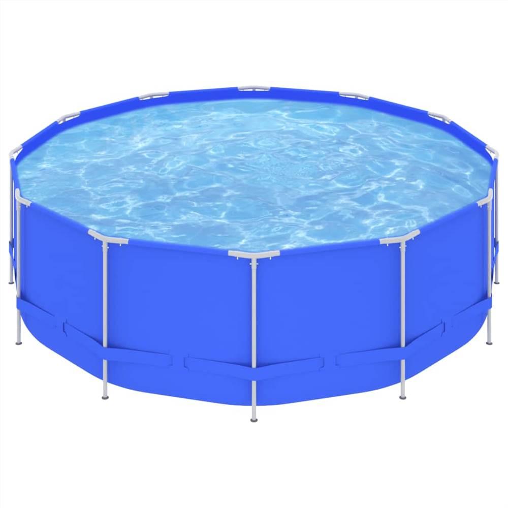Schwimmbad mit Stahlrahmen 457x122 cm Blau