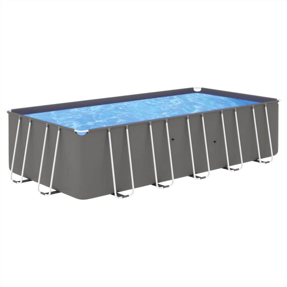 Schwimmbad mit Stahlrahmen 540x270x122 cm Anthrazit