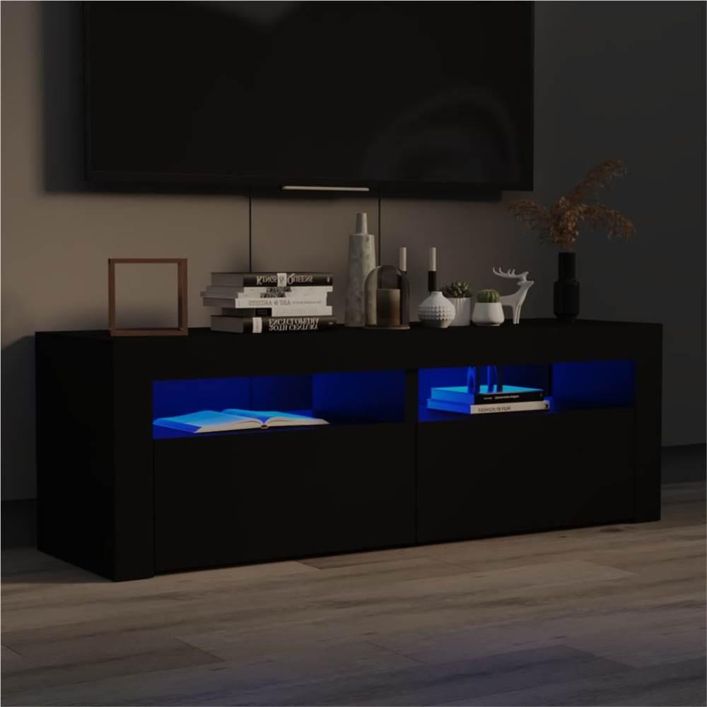 TV Cabinet with LED Lights Black 120x35x40 cm