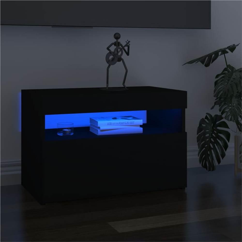 Meuble TV avec éclairage LED Noir 60x35x40 cm