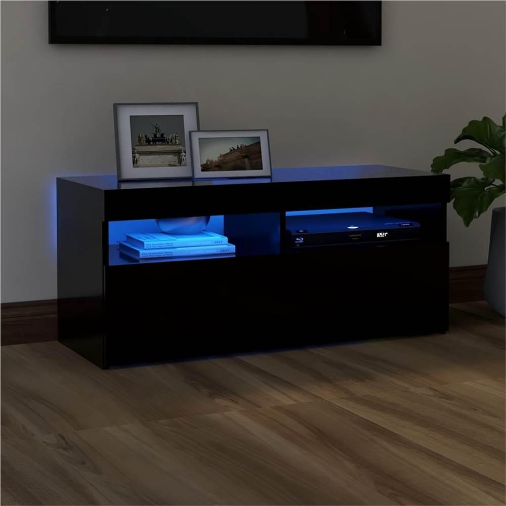 TV-Schrank mit LED-Beleuchtung Schwarz 90x35x40 cm