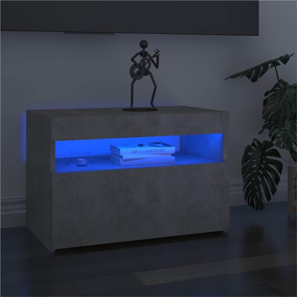 Meuble TV avec éclairage LED Gris Béton 60x35x40 cm