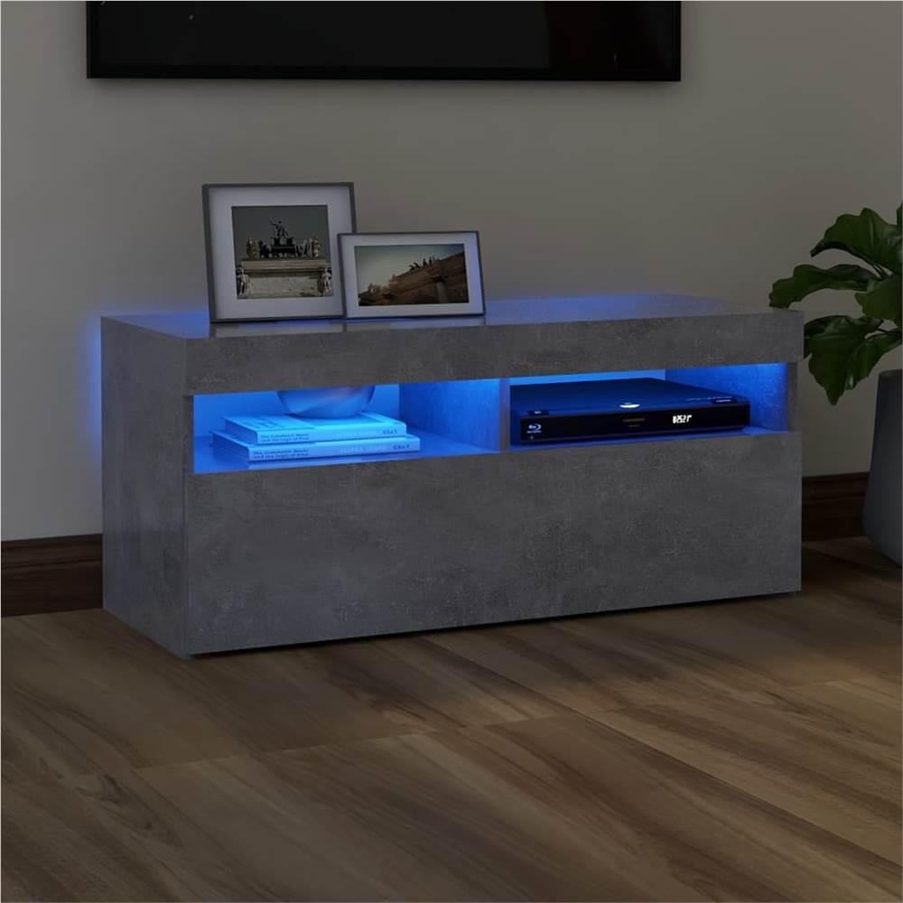 Meuble TV avec éclairage LED Gris Béton 90x35x40 cm