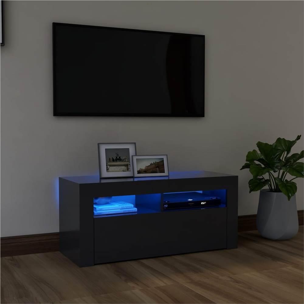 TV-Schrank mit LED-Beleuchtung Grau 90x35x40 cm