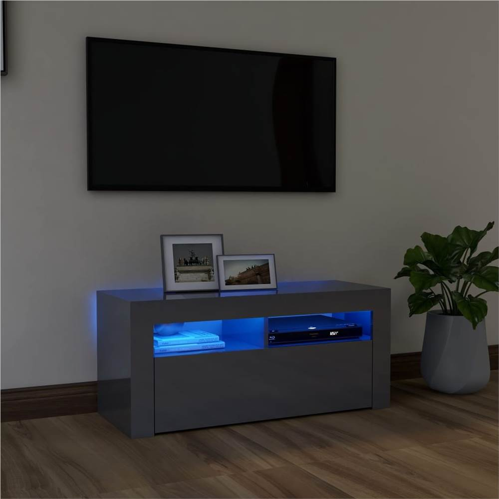 TV-Schrank mit LED-Beleuchtung Hochglanz Grau 90x35x40 cm