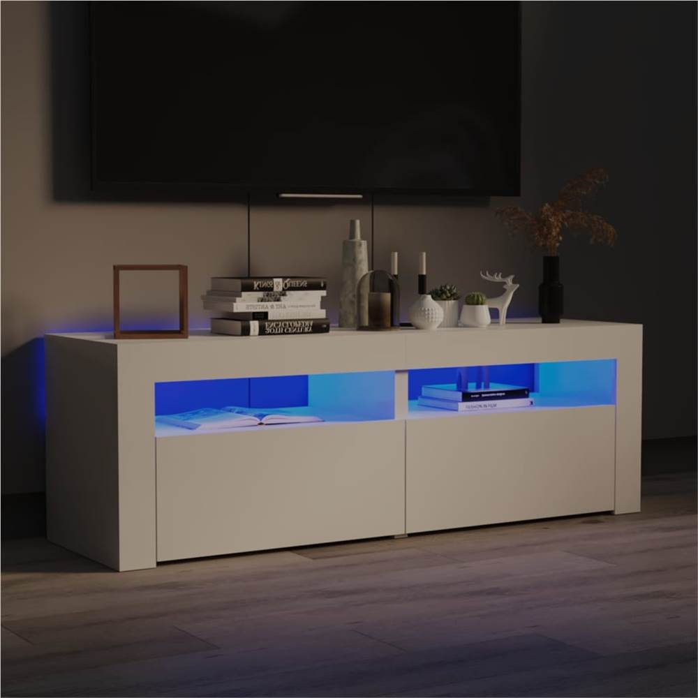 TV Cabinet with LED Lights High Gloss White 120x35x40 cm