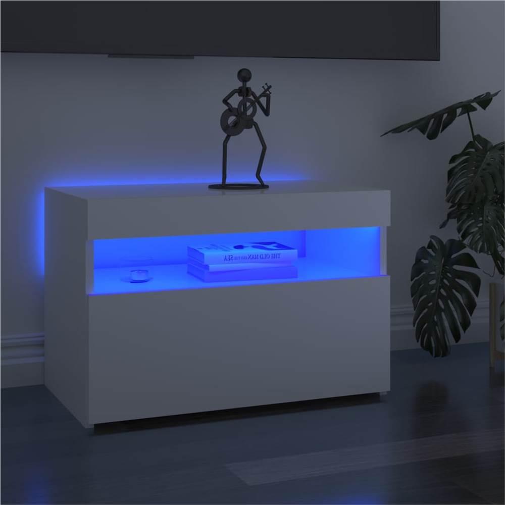 Meuble TV avec éclairage LED Blanc Brillant 60x35x40 cm
