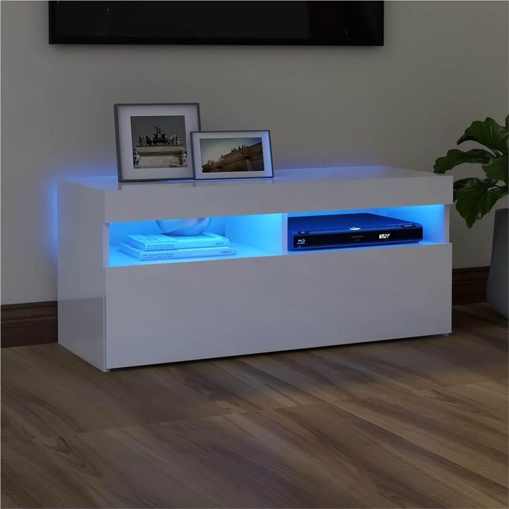 TV-Schrank mit LED-Beleuchtung Hochglanz Weiß 90x35x40 cm