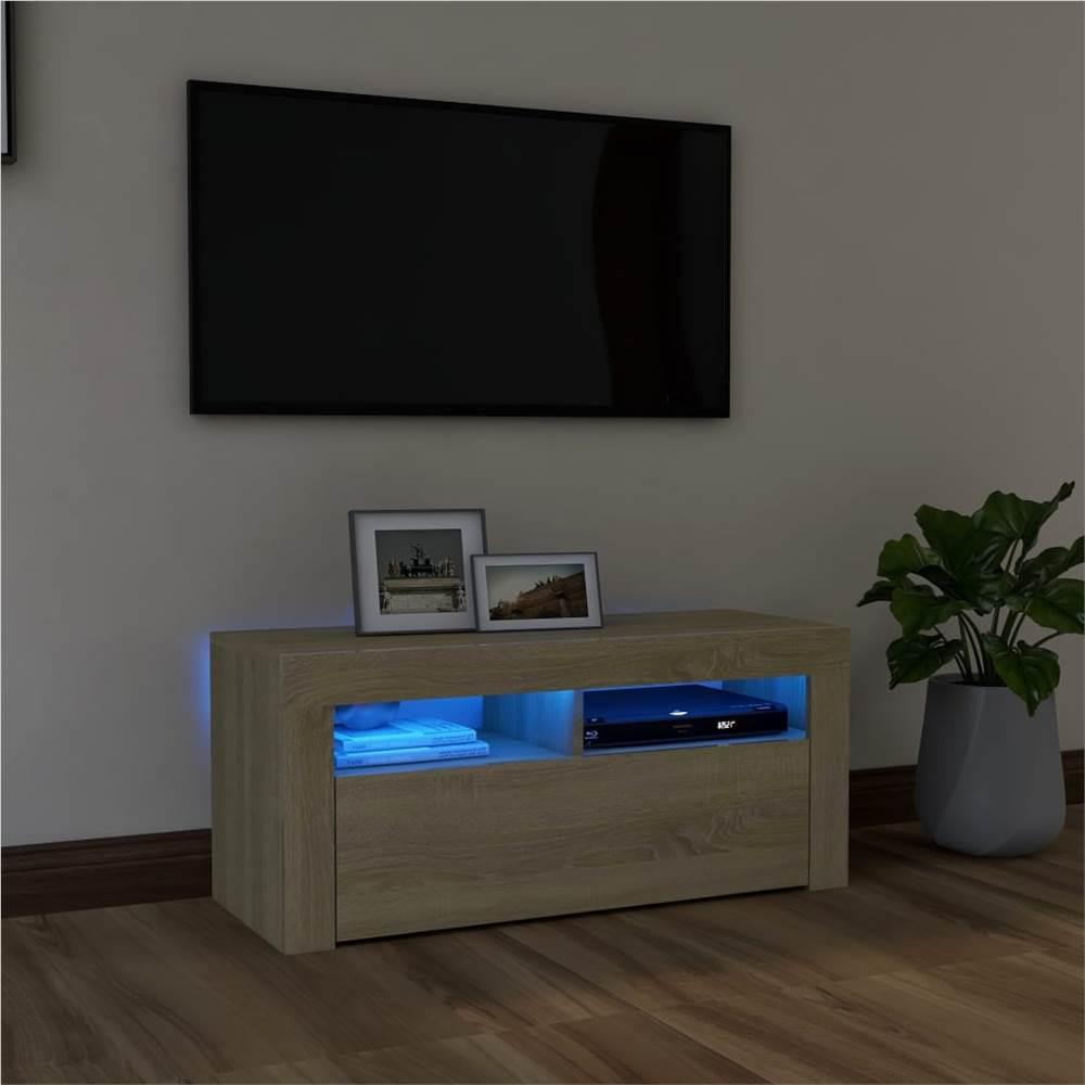 TV-Schrank mit LED-Beleuchtung Sonoma Eiche 90x35x40 cm
