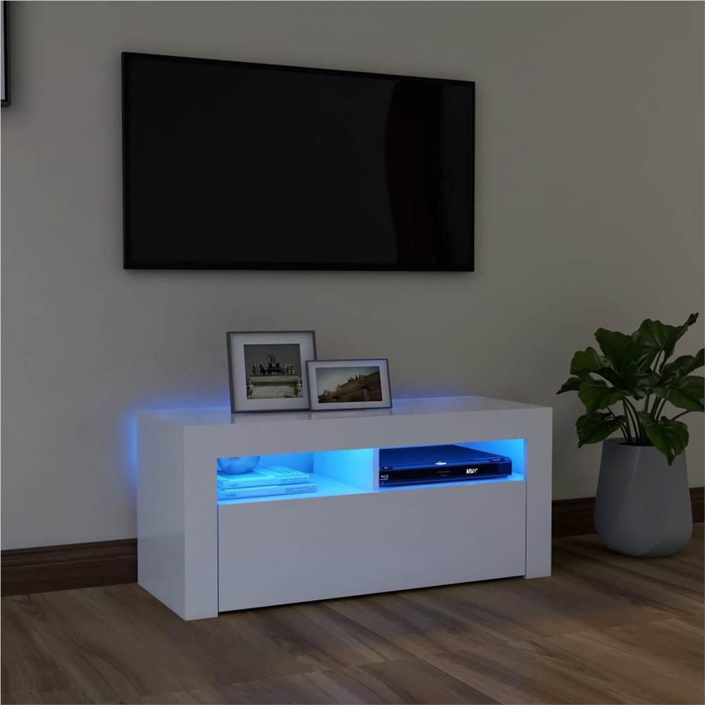 TV-Schrank mit LED-Beleuchtung Weiß 90x35x40 cm