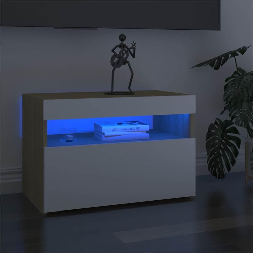 Meuble TV avec éclairage LED Blanc et Chêne Sonoma 60x35x40 cm