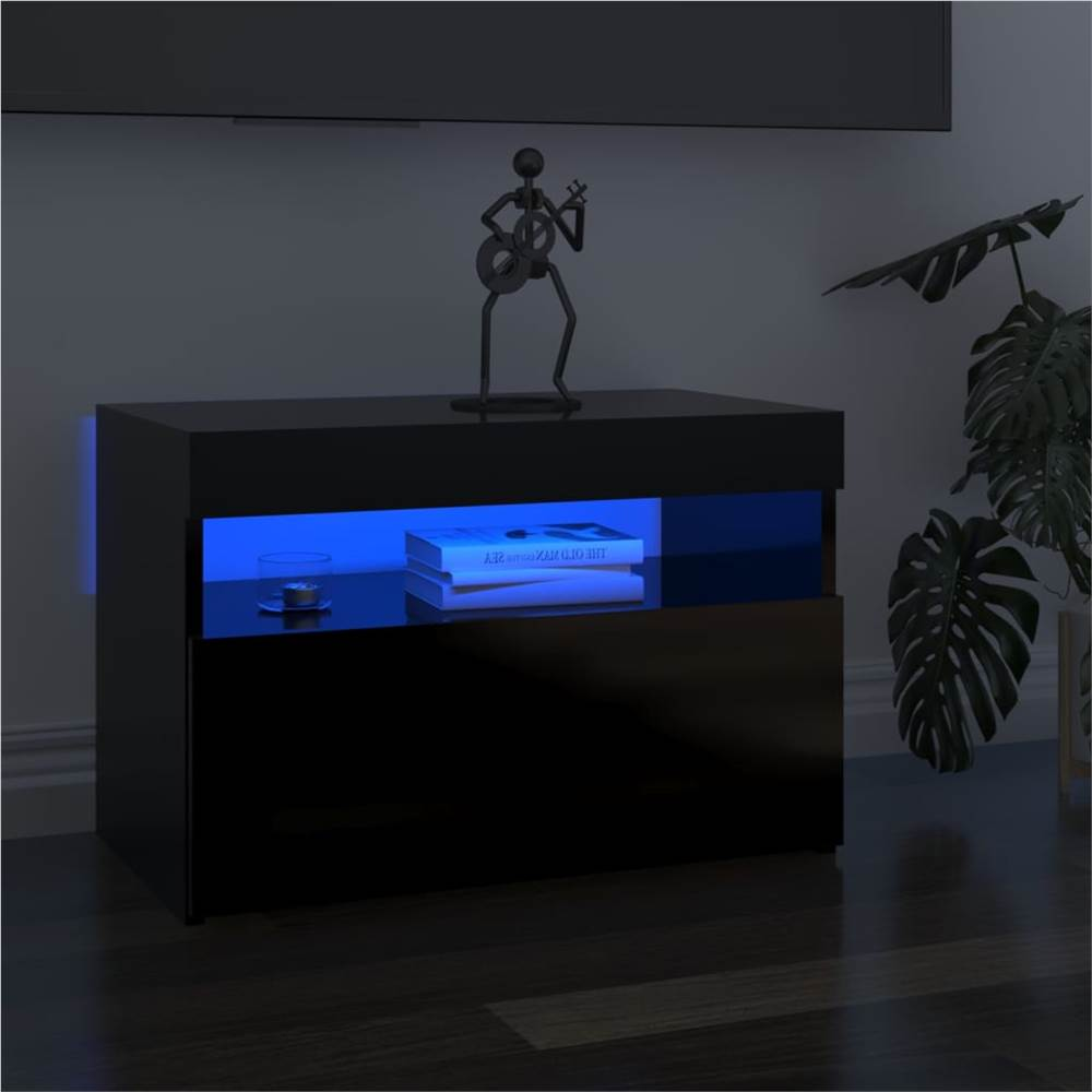 TV Cabinets with LED Lights 2 pcs High Gloss Black 60x35x40 cm
