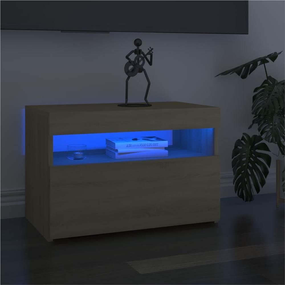 TV Cabinets with LED Lights 2 pcs Sonoma Oak 60x35x40 cm