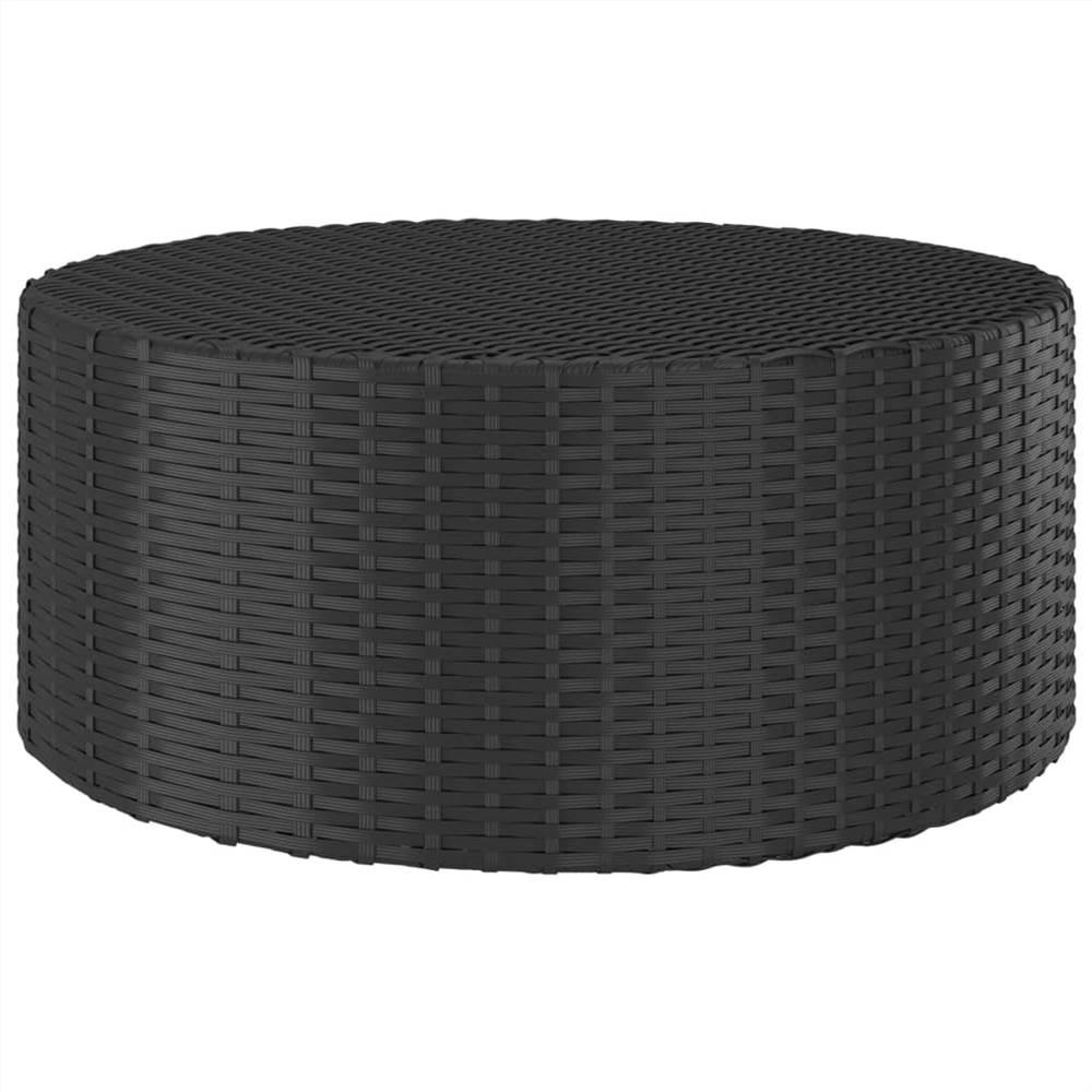 Tea Table Black 68x68x30 cm Poly Rattan