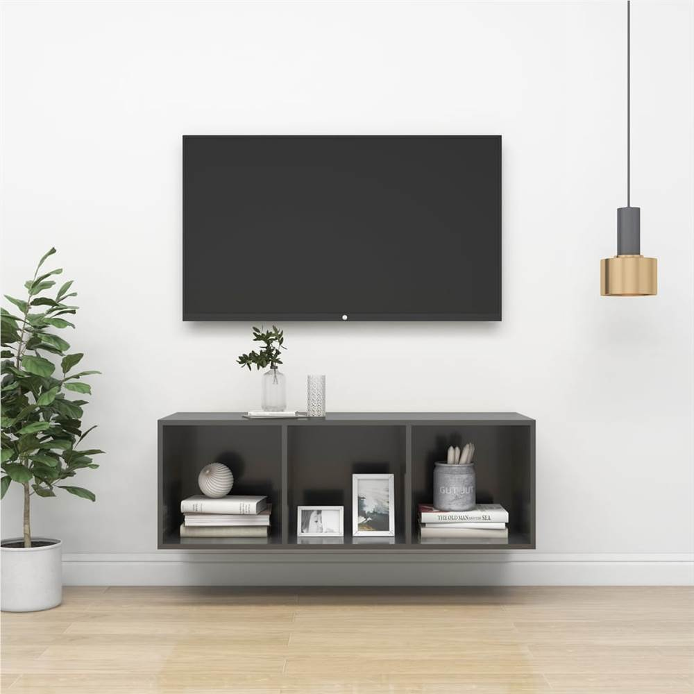 Wall-mounted TV Cabinet High Gloss Grey 37x37x107 cm Chipboard