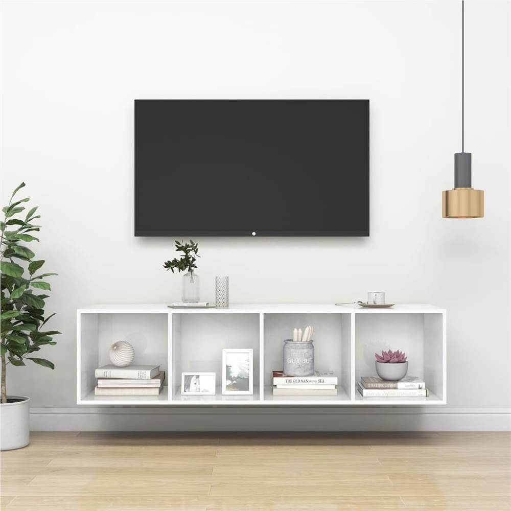 Wall-mounted TV Cabinet High Gloss White 37x37x142.5 cm Chipboard
