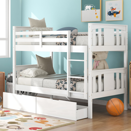 Twin-Over-Twin Size Bunk Bed Frame with 2 Storage Drawers, Ladder, and Wooden Slats Support, No Spring Box Required, for Kids, Teens, Boys, Girls (Frame Only) - White