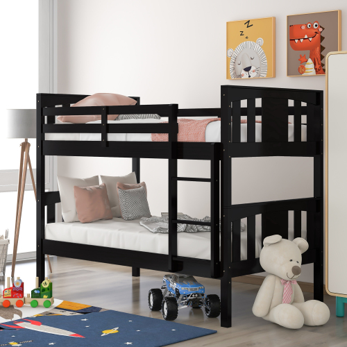 Twin-Over-Twin Size Bunk Bed Frame with Ladder, and Wooden Slats Support, No Spring Box Required, for Kids, Teens (Frame Only) - Espresso