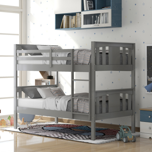 Twin-Over-Twin Size Bunk Bed Frame with Ladder, and Wooden Slats Support, No Spring Box Required, for Kids, Teens (Frame Only) - Gray