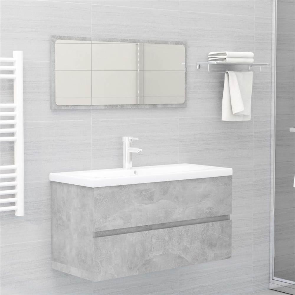 2 Piece Bathroom Furniture Set Concrete Grey Chipboard