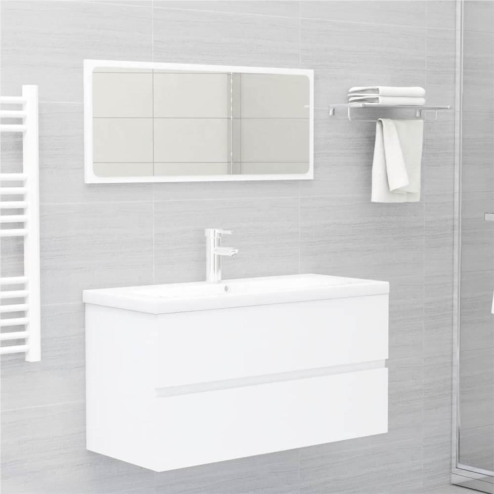 2 Piece Bathroom Furniture Set White Chipboard