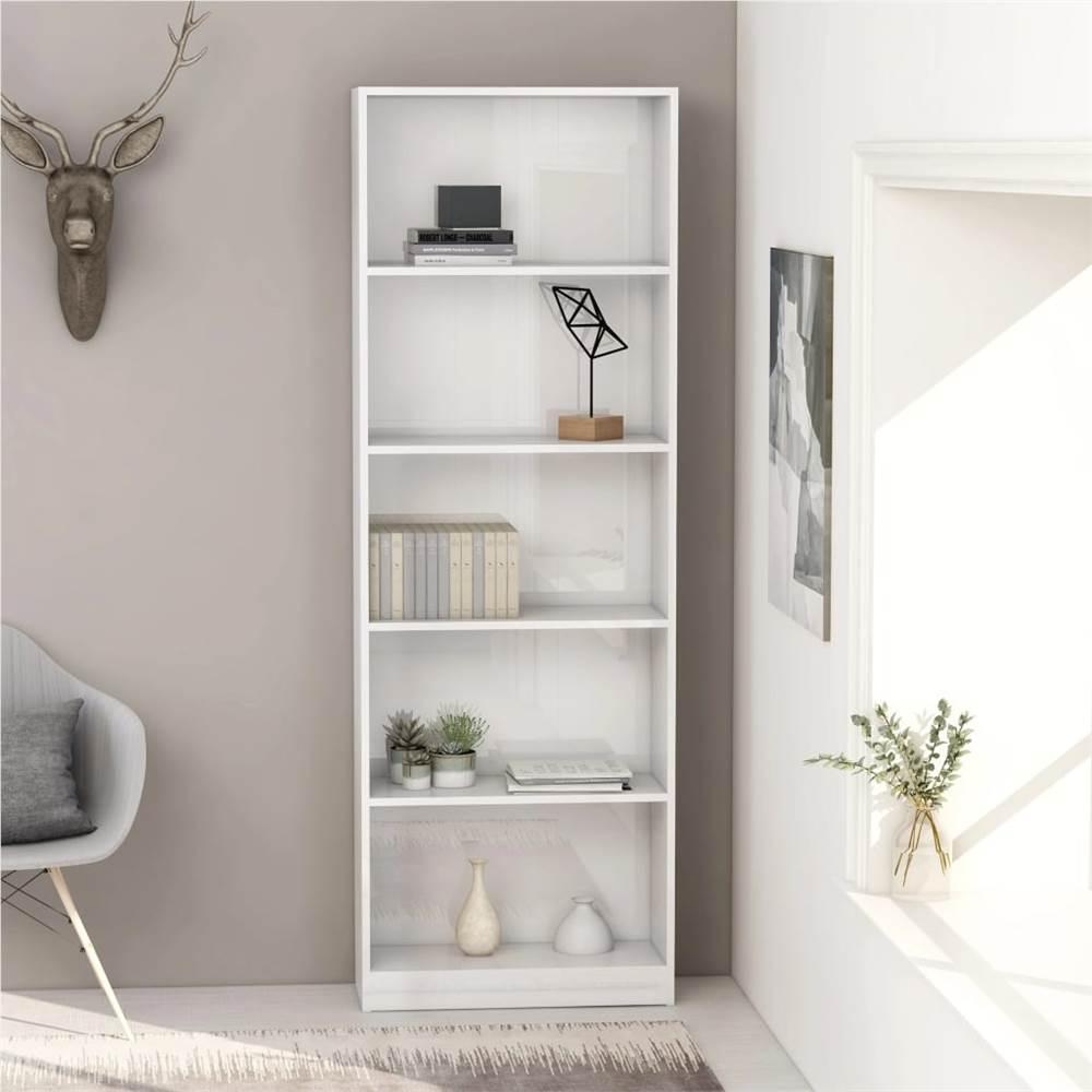 5-Tier Book Cabinet High Gloss White 60x24x175 cm Chipboard