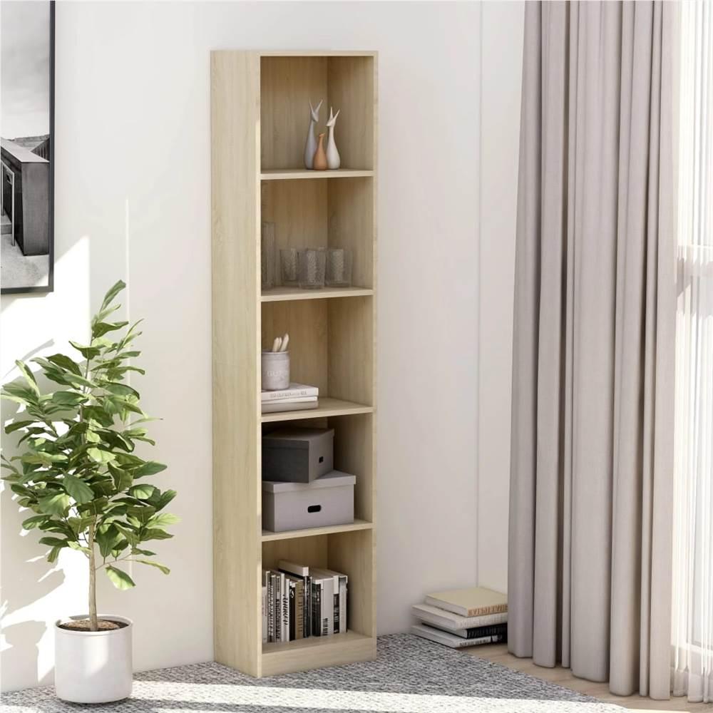 5-Tier Book Cabinet Sonoma Oak 40x24x175 cm Chipboard