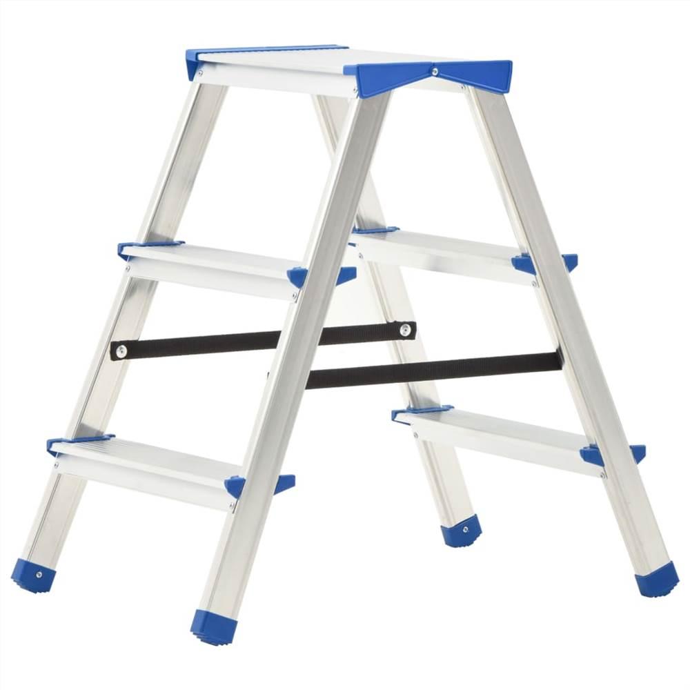 Aluminium Double-Sided Step Ladder 3 Steps 67 cm