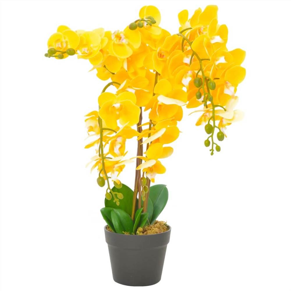 Kunstpflanze Orchidee mit Topf Gelb 60 cm