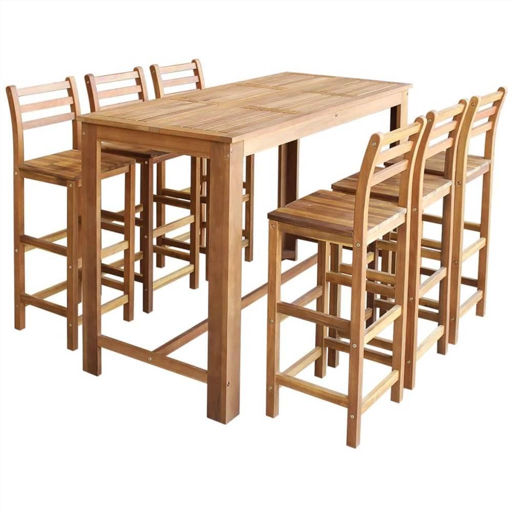 Bartisch und Stuhl Set 7-teilig aus massivem Akazienholz