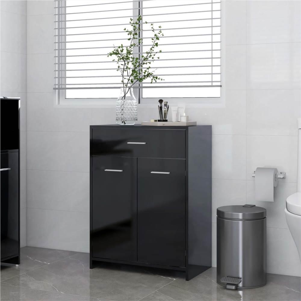 Bathroom Cabinet High Gloss Black 60x33x80 cm Chipboard