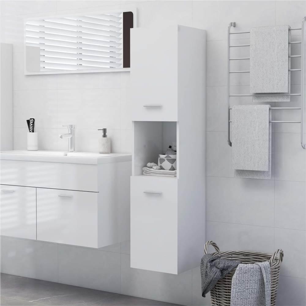 Bathroom Cabinet High Gloss White 30x30x130 cm Chipboard