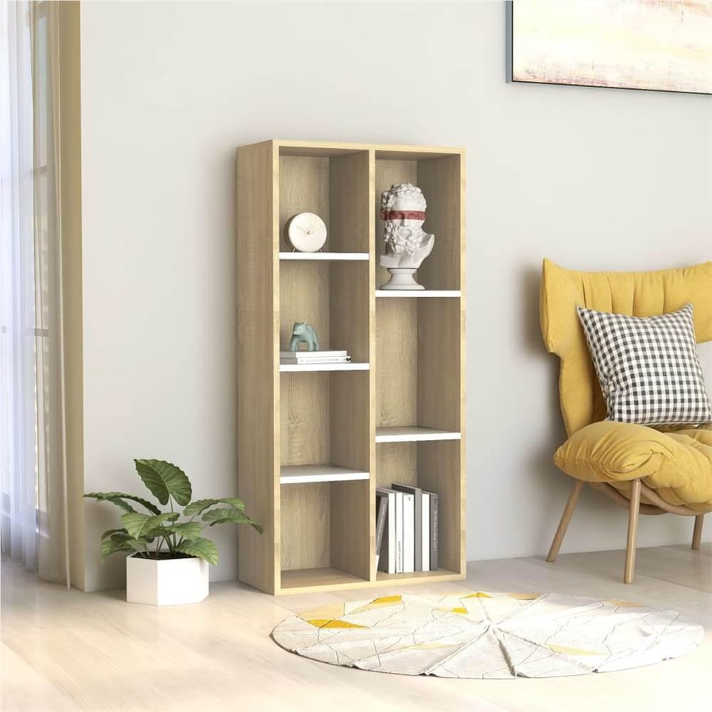 Book Cabinet White and Sonoma Oak 50x25x106 cm Chipboard