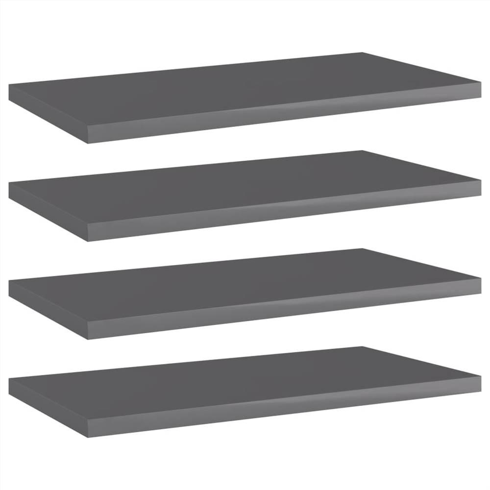 Bookshelf Boards 4 pcs High Gloss Grey 40x20x1.5 cm Chipboard