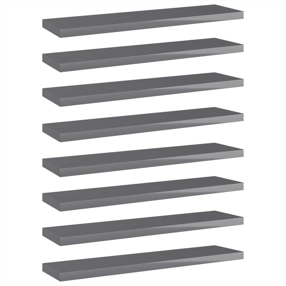 Bookshelf Boards 8 pcs High Gloss Grey 40x10x1.5 cm Chipboard