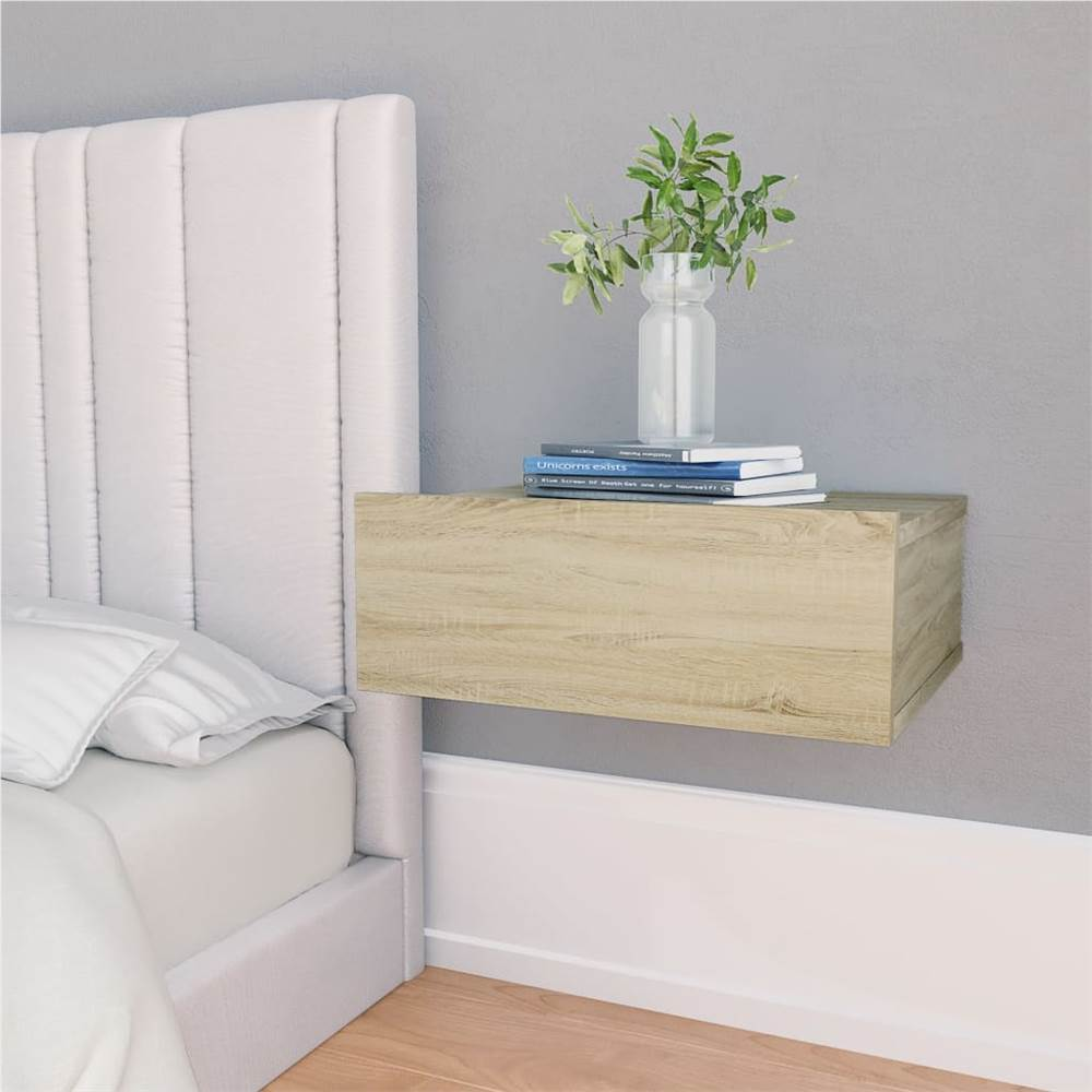 Floating Nightstands 2 pcs Sonoma Oak 40x30x15 cm Chipboard