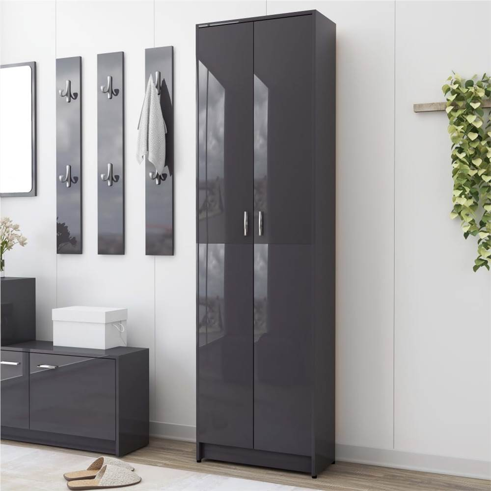 Hallway Wardrobe High Gloss Grey 55x25x189 cm Chipboard
