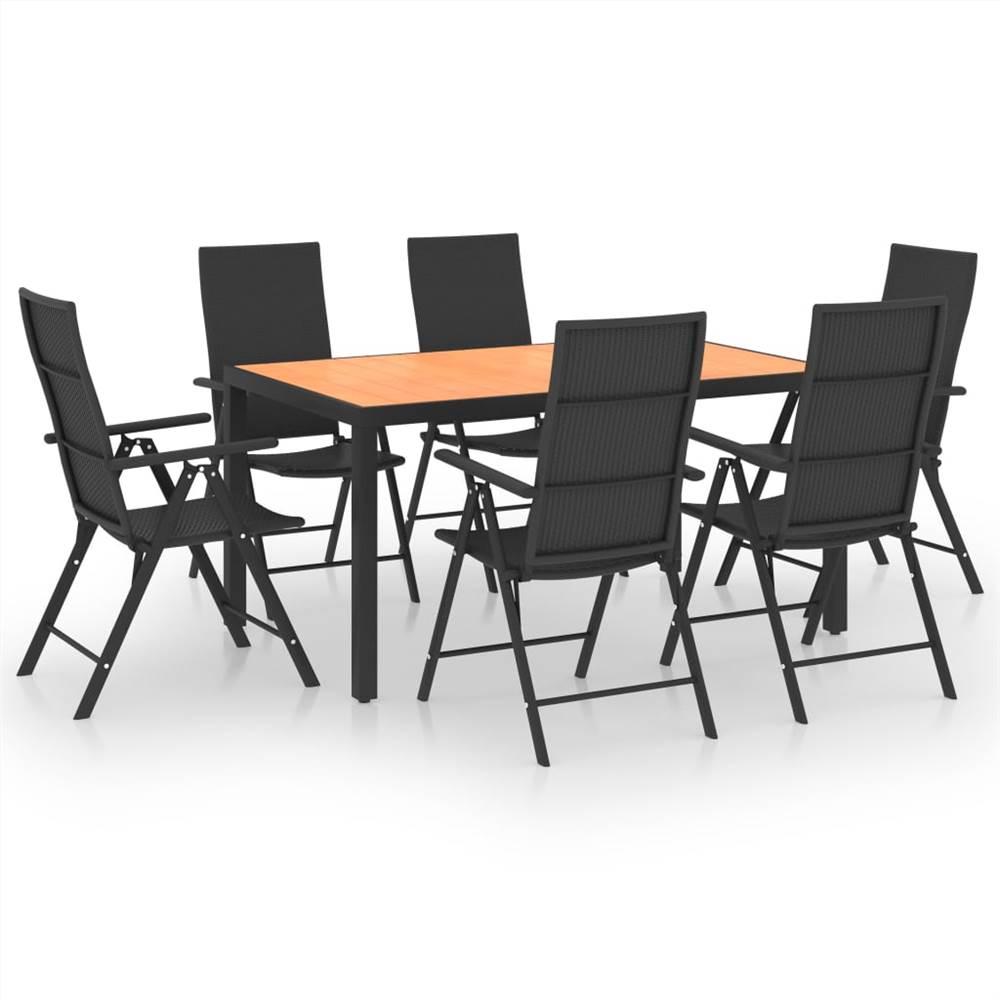 7 Piece Garden Dining Set Black and Brown