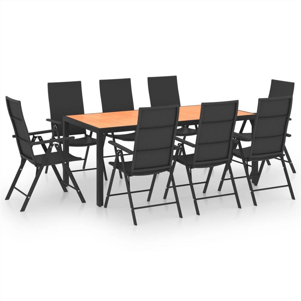 9 Piece Garden Dining Set Black and Brown