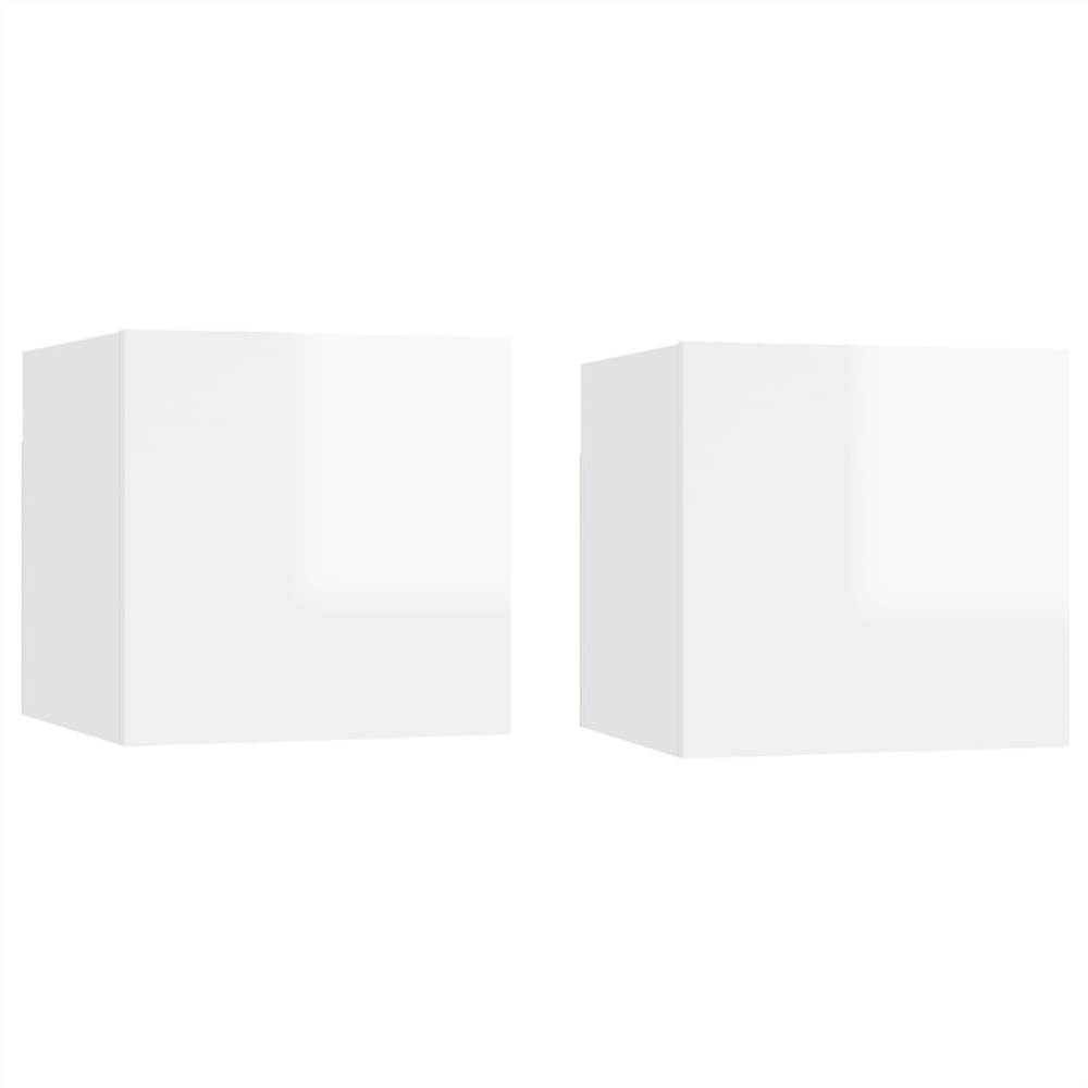 Bedside Cabinets 2 pcs High Gloss White 30.5x30x30 cm Chipboard