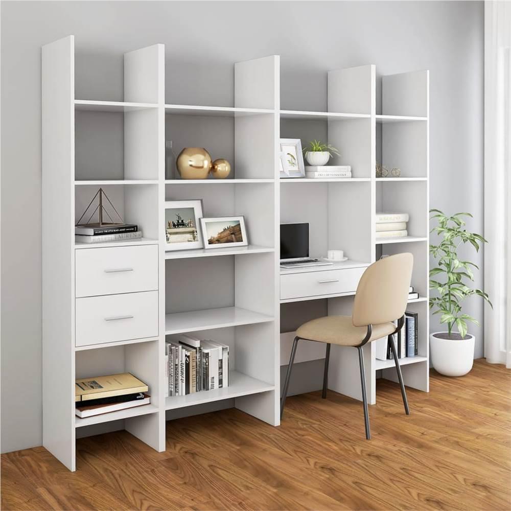 4 Piece Book Cabinet Set White Chipboard