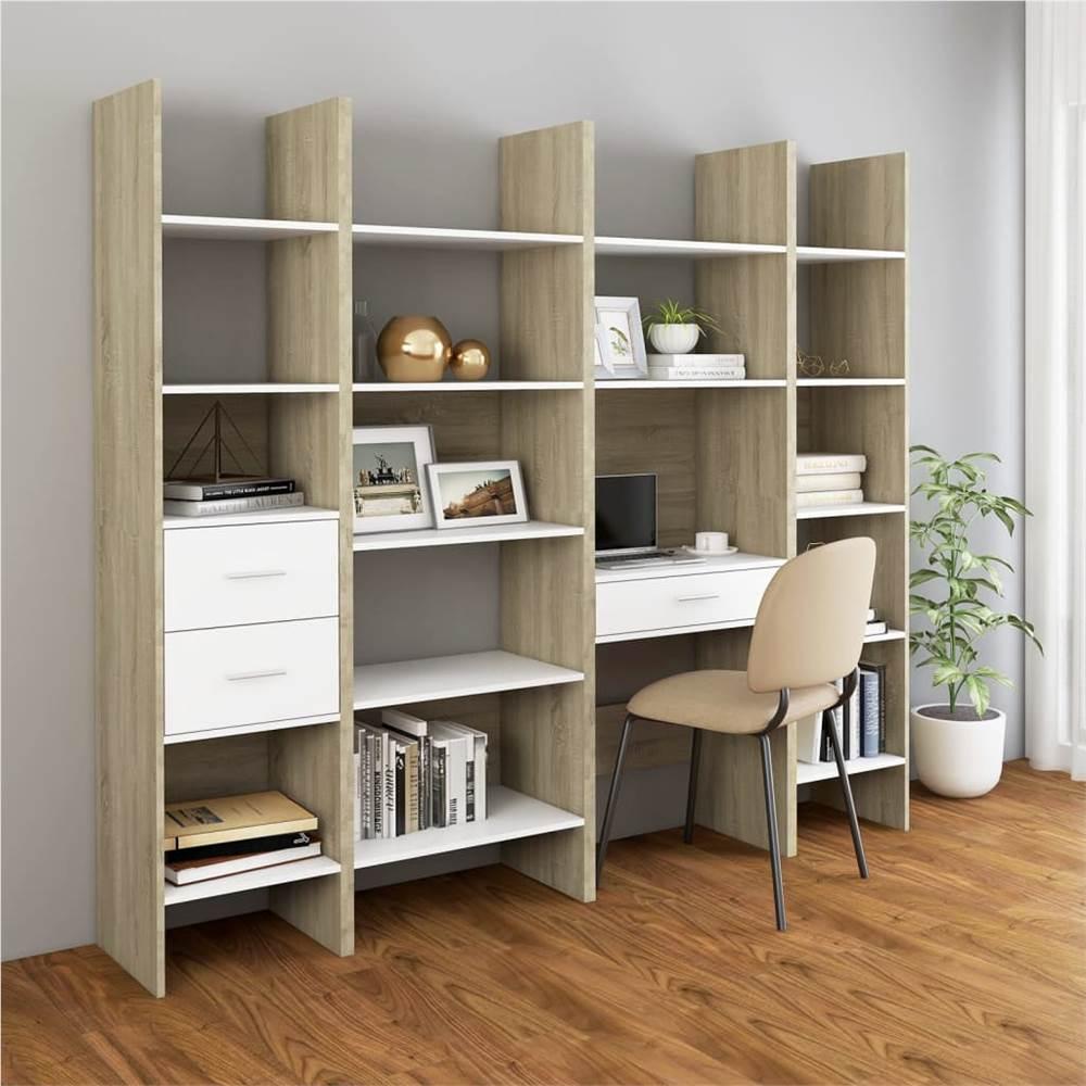 4 Piece Book Cabinet Set White and Sonoma Oak Chipboard