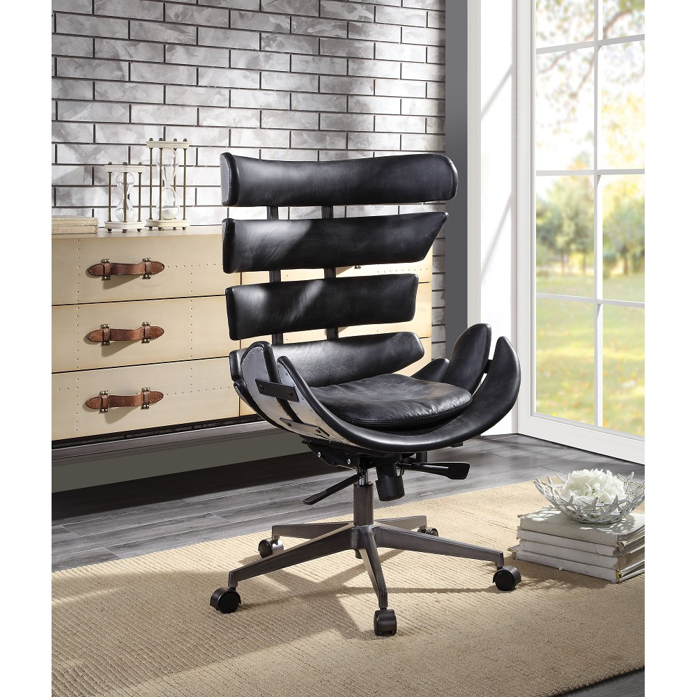 ACME Megan Modern Leisure Leather Swivel Chair Height Adjustable with Curved Backrest and Casters for Living Room, Bedroom, Dining Room, Office - Black