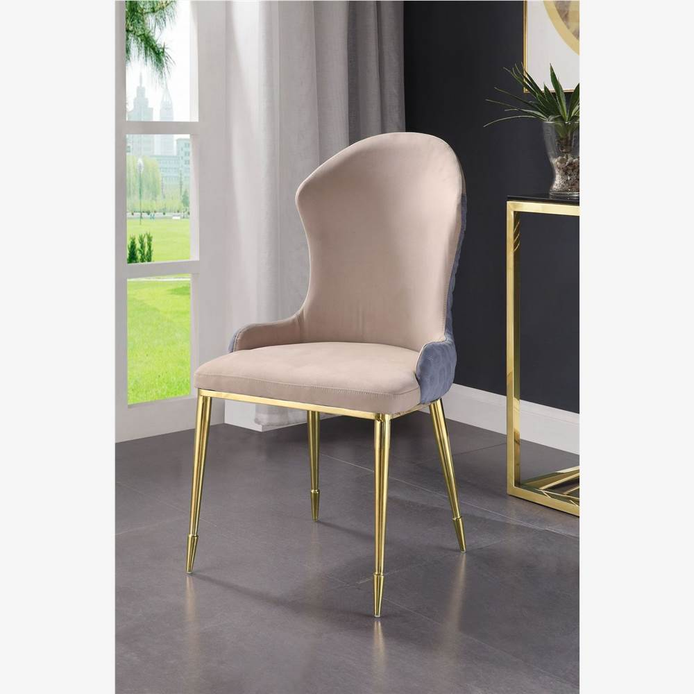 ACME Caolan Fabric Upholstered Dining Chair Set of 2, with Curved Backrest, and Metal Legs, for Restaurant, Cafe, Tavern, Office, Living Room - Beige